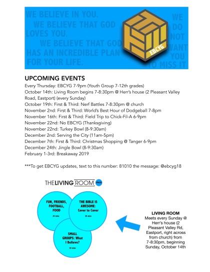 EBCYG Fall 2018 Schedule